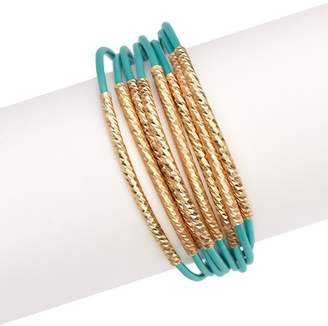 Saachi Turquoise Twisted Metal Leather Bracelet