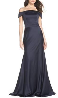La Femme Satin Off the Shoulder Gown
