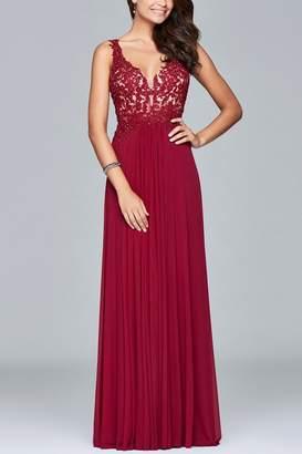 Faviana Long mesh v-neck dress with lace applique