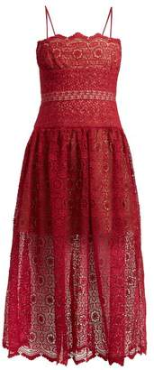 Self-Portrait Self Portrait Floral Lace Dropped Waist Midi Dress - Womens - Red