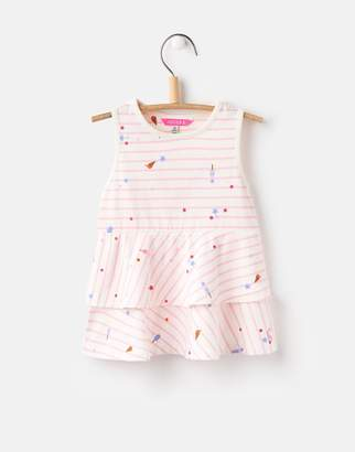 Joules Clothing Cream Lolly Stripe Fay Peplum Jersey Top 1yr