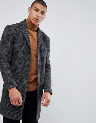 Selected recycled wool overcoat with gray black check