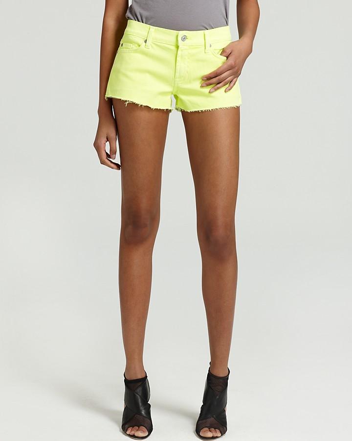 7 For All Mankind Shorts - Neon Cutoff Denim Shorts