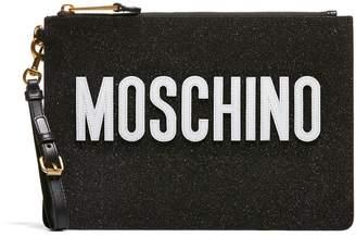 Moschino Logo Zipped Clutch