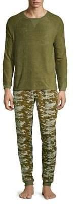 Two-Piece Microfleece Sweatshirt & Printed Joggers Pajama Set