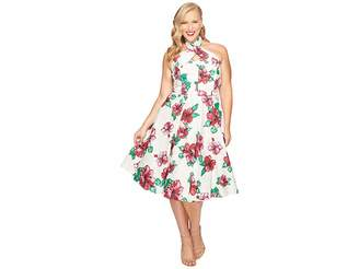 Unique Vintage Plus Size Halter Flora Swing Dress Women's Dress