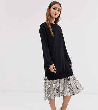 Asos DESIGN Petite midi 2 in 1 sweat dress with pleated snake print hem