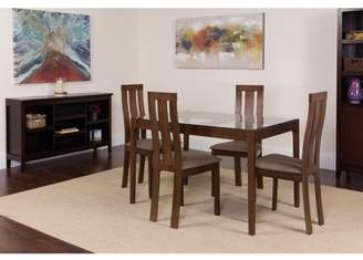 Flash Furniture Westport 3 Piece Espresso Wood Dining Table Set with Vertical Wide Slat Back Wood Dining Chairs - Padded Seats
