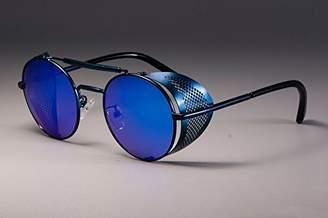 Nobrand No Brand Retro Round Metal Sunglasses Steampunk Men Women Brand Designer Glasses Oculos De Sol Shades UV Protection (Blue)