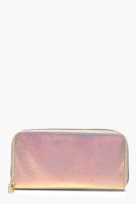 boohoo Holographic Faux Snake Ziparound Purse