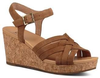 UGG Women's Uma Suede Platform Wedge Sandals