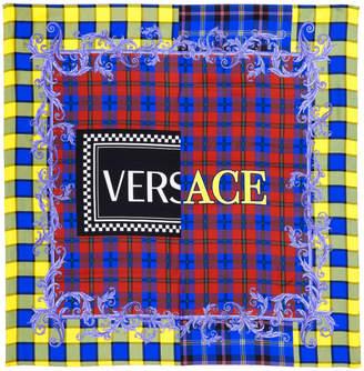 Versace Multicolor Silk Plaid Logo Scarf