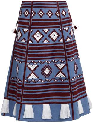 VITA KIN Croatia embroidered linen skirt