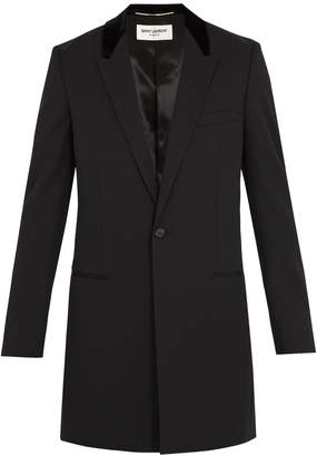 Saint Laurent Contrast-collar single-breasted wool coat