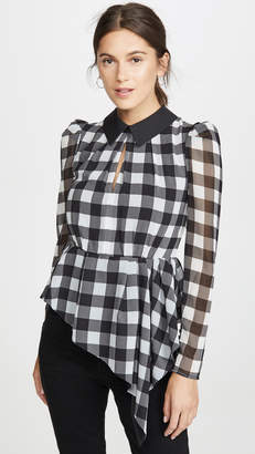 Self-Portrait Self Portrait Monochrome Gingham Printed Top