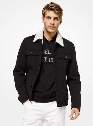 Michael Kors Sherpa-Lined Twill Trucker Jacket