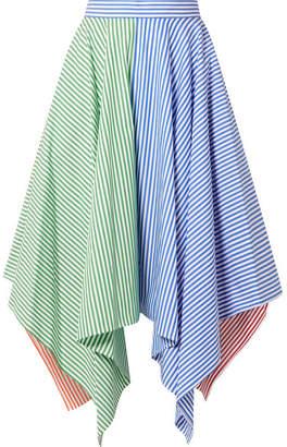 MDS Stripes - Asymmetric Striped Cotton-poplin Skirt - Blue