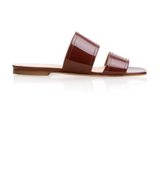 Aeyde Mattea Square-Toed Patent Leather Slides