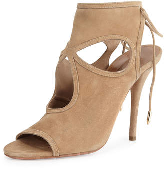 Aquazzura Sexy Thing Suede Cutout Sandals, Nude