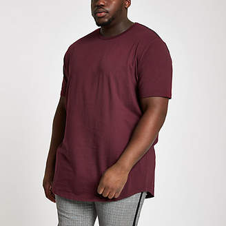 River Island Big and Tall burgundy curve hem T-shirt