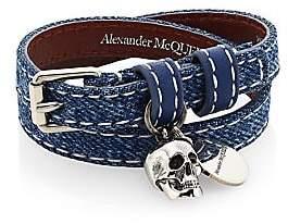 Alexander McQueen Women's Skull Pendant Double Wrap Leather & Cotton Bracelet