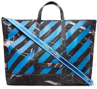 Off-White Printed Cotton-Canvas Tote Bag