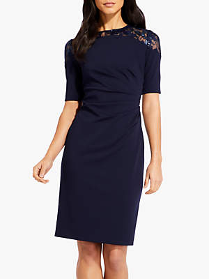 Adrianna Papell Crepe Floral Lace Dress, Midnight