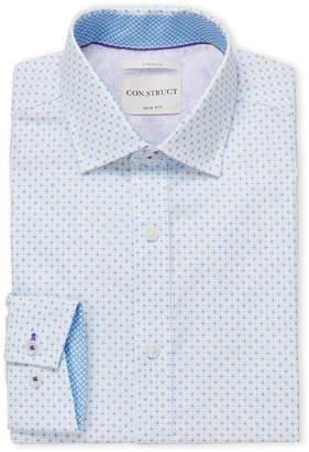 English Laundry Con.Struct Blue Diamond Geo Print Slim Fit Dress Shirt
