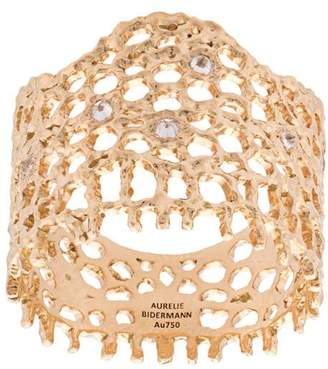 Aurelie Bidermann 18kt yellow gold & diamond lace ring