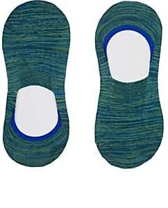 Barneys New York Men's Mélange Stretch Cotton-Blend No-Show Socks - Green