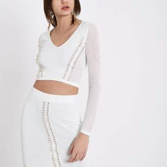 River Island White eyelet pointelle knit V neck crop top