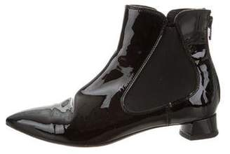 AGL Pointed-Toe Patent Leather Ankle Boots