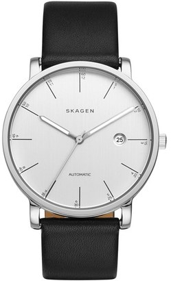 Skagen 'Hagen' Round Leather Strap Watch, 40mm $345 thestylecure.com