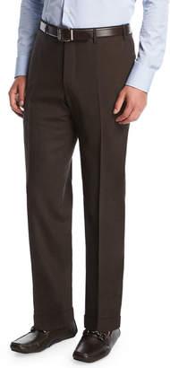 Canali Melange Stretch-Wool Flat-Front Pants, Brown