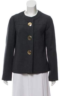 Tory Burch Collarless Woven Jacket