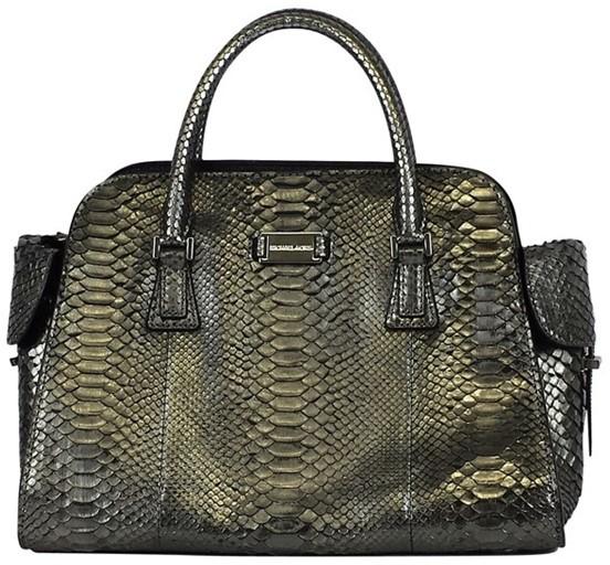 Michael Kors Silver Crocodile Skin Satchel Handbag - SILVER - STYLE
