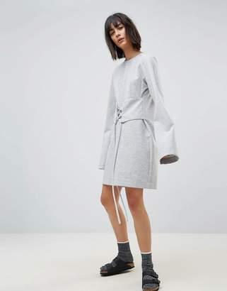 House Of Sunny Long Sleeve T-Shirt Dress With Corset Waist