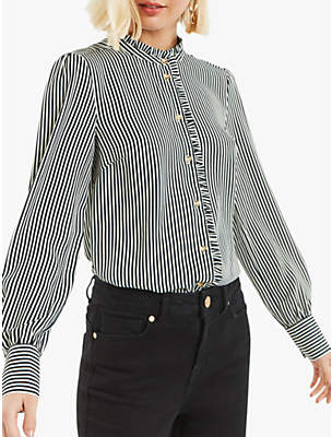 Oasis Pie Crust Stripe Shirt, Black/White