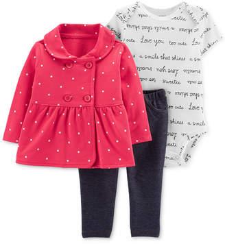 Carter's Baby Girls 3-Pc. Dot-Print Jacket, Bodysuit & Denim Leggings Set