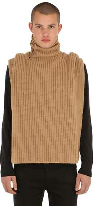 Raf Simons Wool Rib Knit Turtleneck Vest