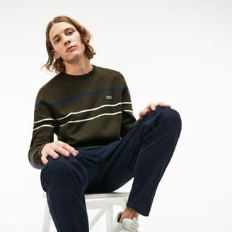 Lacoste Men's Crew Neck Multicolor Striped Milano Cotton Sweater