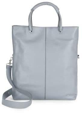 Halston Large Foldover Leather Tote Bag