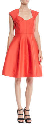 Halston Structured Dress w/ Cap Sleeves