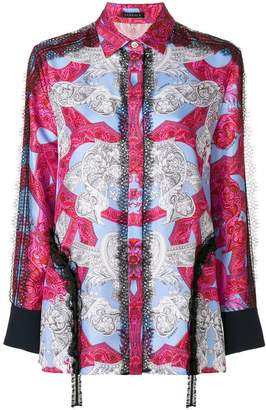 Versace lace trim printed shirt