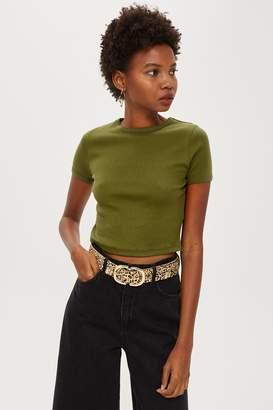 Topshop Womens Petite Short Sleeve Scallop T-Shirt - Khaki