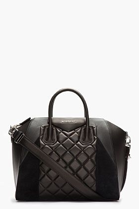 Givenchy Black Quilted Leather & Suede Antigona Duffle Bag