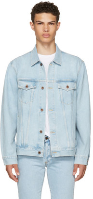 Off-White Blue Oversized Denim 'Not Real' Angel Jacket $645 thestylecure.com