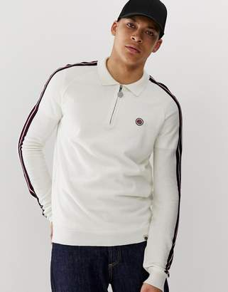 Pretty Green zip neck long sleeve knitted polo with side stripe in white