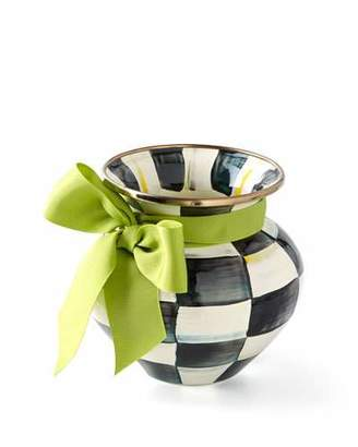 Mackenzie Childs MacKenzie-Childs Courtly Check Vase with Green Ribbon