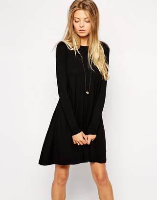 Asos DESIGN Swing Dress with Long Sleeves and Seam Detail